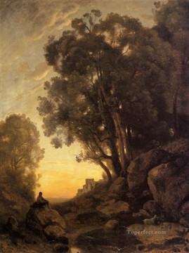 Plain Scenes Painting - The Italian Goatherd Evening Jean Baptiste Camille Corot