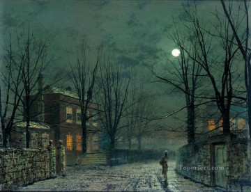 The Old Hall Under Moonlight city scenes landscape John Atkinson Grimshaw Oil Paintings