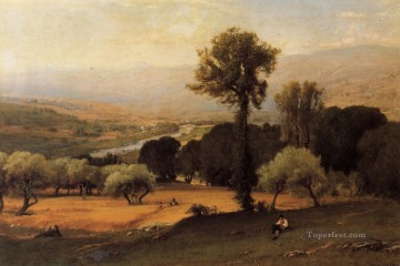 Plain Scenes Painting - The Perugian Valley landscape Tonalist George Inness