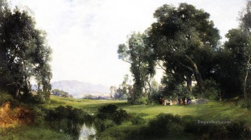 picnic Painting - The Picnic landscape Thomas Moran