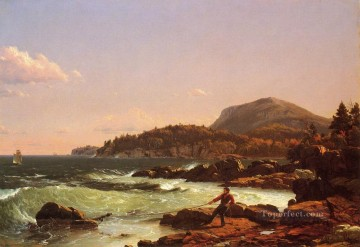 View of Newport Mountain Mount Desert scenery Hudson River Frederic Edwin Church Oil Paintings