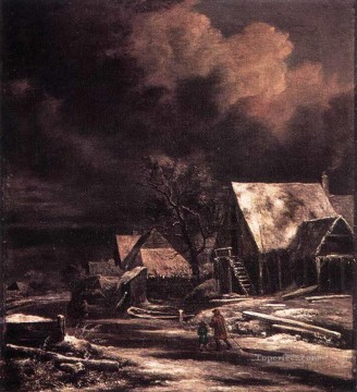 Village At Winter At Moonlight landscape Jacob Isaakszoon van Ruisdael Oil Paintings