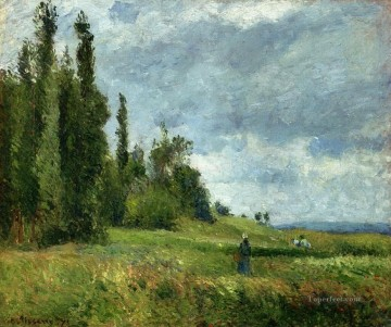 a part of groettes pontoise gray weather 1875 Camille Pissarro scenery Oil Paintings