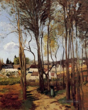 Plain Scenes Painting - a village through the trees Camille Pissarro scenery