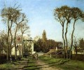 entrance to the village of voisins yvelines 1872 Camille Pissarro scenery
