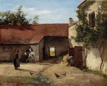 Army Art Painting - farmyard Camille Pissarro scenery