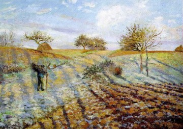 hoarfrost 1873 Camille Pissarro scenery Oil Paintings