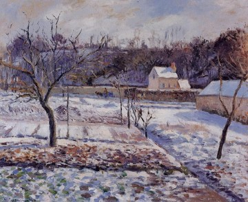 l hermitage pontoise snow effect 1874 Camille Pissarro scenery Oil Paintings