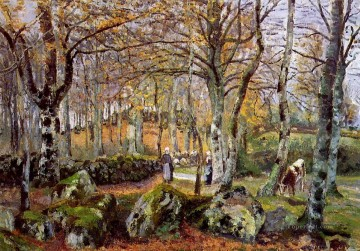 landscape with rocks montfoucault 1874 Camille Pissarro Oil Paintings