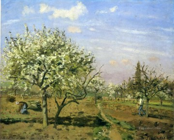 blossom Painting - orchard in blossom louveciennes 1872 Camille Pissarro scenery