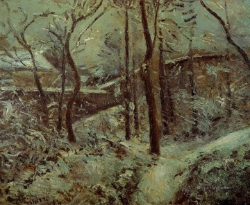 poor footpath pontoise snow effect 1874 Camille Pissarro scenery Oil Paintings