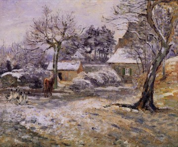snow at montfoucault 1874 Camille Pissarro scenery Oil Paintings