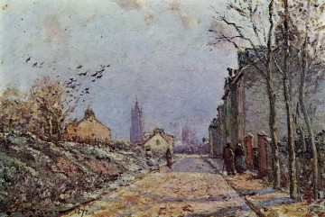 street snow effect 1872 Camille Pissarro scenery Oil Paintings