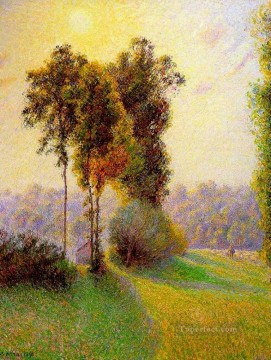 Plain Scenes Painting - sunset at sent charlez eragny 1891 Camille Pissarro scenery