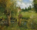 the banks of the epte at eragny 1884 Camille Pissarro scenery