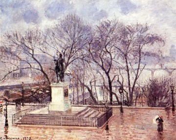 Afternoon Works - the raised terrace of the pont neuf place henri iv afternoon rain 1902 Camille Pissarro scenery