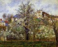 the vegetable garden with trees in blossom spring pontoise 1877 Camille Pissarro scenery