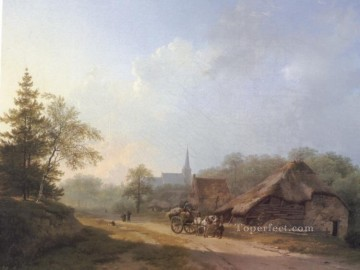 A Cart on a Country Road in Summertime Dutch landscape Barend Cornelis Koekkoek Oil Paintings