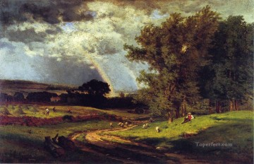 tonalism tonalist Painting - A Passing Shower landscape Tonalist George Inness