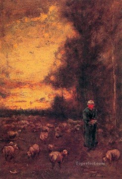 tonalism tonalist Painting - End of Day Montclair landscape Tonalist George Inness