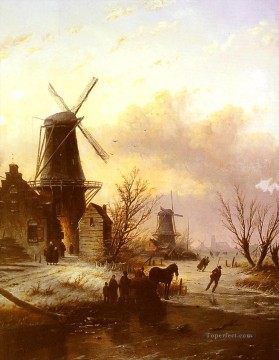 Figures on a bridge in a Dutch Town landscape Jan Jacob Coenraad Spohler Oil Paintings