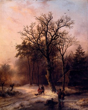 Plain Scenes Painting - Forest In Winter Dutch landscape Barend Cornelis Koekkoek