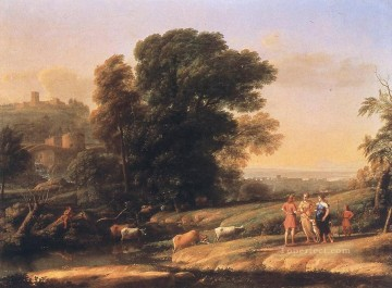 Lorrain Art Painting - Landscape with Cephalus and Procris Reunited by Diana Claude Lorrain