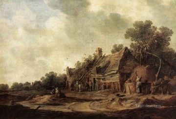 Peasant Huts with a Sweep Well landscapes Jan van Goyen Oil Paintings