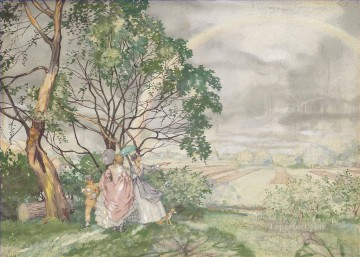 Rainbow Konstantin Somov plan scenes landscape Oil Paintings