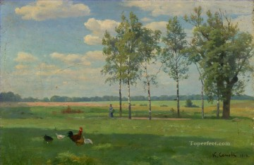 Summer Day Konstantin Somov plan scenes landscape Oil Paintings