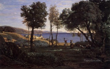 Naples Canvas - View near Naples Jean Baptiste Camille Corot