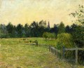 cowherd in a field at eragny 1890 Camille Pissarro scenery