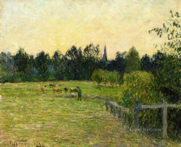 cowherd in a field at eragny 1890 Camille Pissarro scenery Oil Paintings
