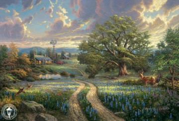 Country Living Thomas Kinkade scenery Oil Paintings