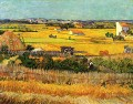 Harvest at La Crau with Montmajour in the Background Vincent van Gogh scenery