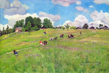 the rural holiday on the hill ligachrvo 1923 Konstantin Yuon plan scenes landscape Oil Paintings