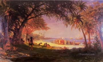 Artworks in 150 Subjects Painting - The Landing of Columbus Albert Bierstadt