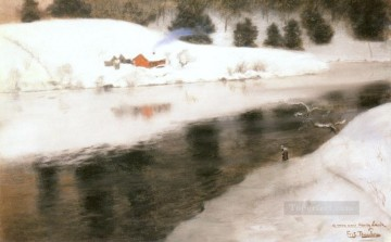 Snow Painting - snow At Simoa River impressionism Norwegian landscape Frits Thaulow