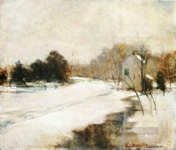 snow in Cincinnati Impressionist landscape John Henry Twachtman Oil Paintings
