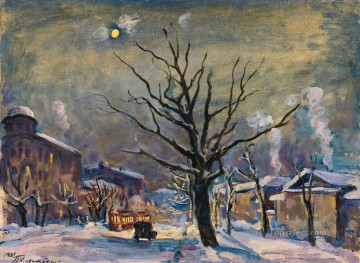 BOLSHAYA SADOVAYA BY MOONLIGHT Petr Petrovich Konchalovsky snow landscape Oil Paintings