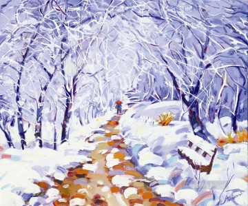 Christmas in park snowing Oil Paintings