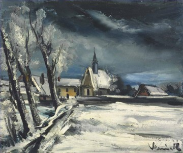 Church in the snow Maurice de Vlaminck landscape Oil Paintings