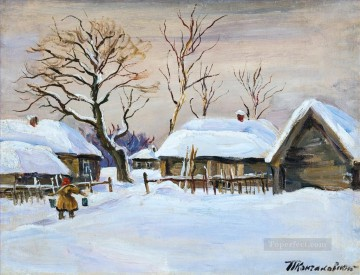 DOBROE IN THE WINTER Petr Petrovich Konchalovsky snow landscape Oil Paintings