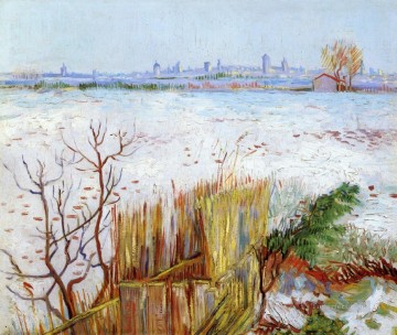 Snowy Landscape with Arles in the Background Vincent van Gogh Oil Paintings