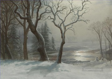 Yosemite Art - WINTER IN YOSEMITE American Albert Bierstadt snow landscape