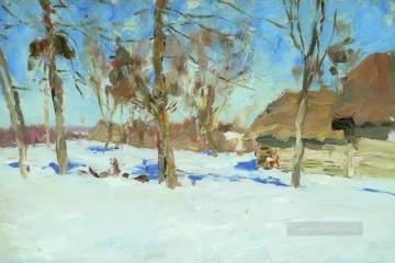early march 1900 Isaac Levitan snow landscape Oil Paintings