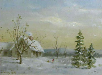 Snow Painting - sn030B impressionism snow winter scenery