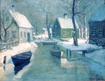 Snow Painting - sn036B impressionism snow winter scenery