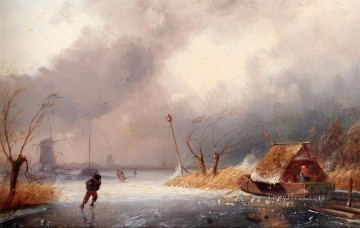 Snow Painting - A snow Landscape With Skaters On A Frozen Waterway Charles Leickert