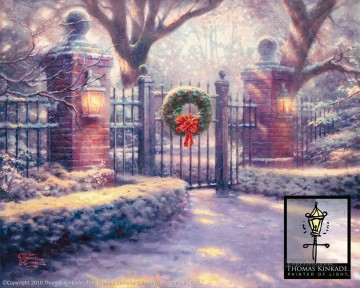 baptism of christ Painting - Christmas Gate Thomas Kinkade snowing